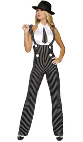 Gangsta Mama costume includes pinstripe high rise suspender pants with button accents and white top with attached tie. Two piece set.
