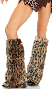 Animal print furry leg warmers.