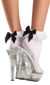 Ankle socks with lace ruffle top and satin bow.