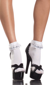 Ankle socks with lace ruffle top.