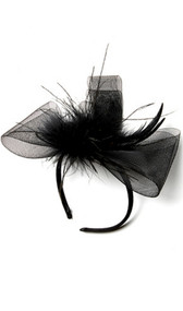 Flapper costume headband with tulle and feather detail.