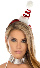 Coil Santa hat headband with faux fur trim. Headband and coil are wrapped in red velvet.