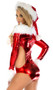 Long sleeve metallic Santa bodysuit with faur fur boat neck and wrist trim, cut outs, and zipper back.
