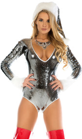Micro sequin deep plunge bodysuit with faux fur trimmed wrists and backside zipper closure. Crotch does not open.