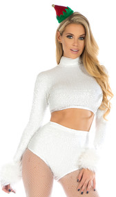 Snowflake sequin palette set features long sleeve mock neck crop top with faux fur trimmed wrists and matching high waisted shorts. Two piece set.