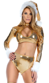 Glisten holiday sequin set includes long sleeve crop top with keyhole cut out and faux fur trimmed wrists with back zipper closure. Matching high waisted shorts. Two piece set.