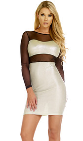Long sleeve crinkled metallic dress with mesh contrast forming a bandeau top and pencil skirt illusion.