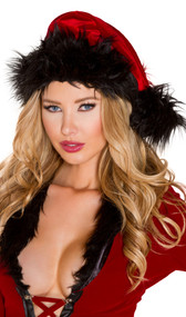 Faux fur trimmed Bad Santa hat with pom pom detail.