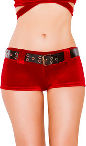 Low rise Santa Claus style mini velvet shorts with matching belt.