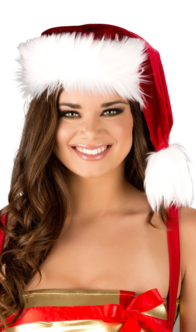 efb92e6cfd Velvet Santa hat with faux fur trim and pom pom detail.