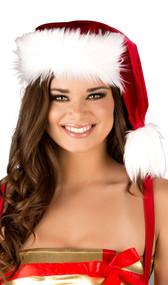 Velvet Santa hat with faux fur trim and pom pom detail.