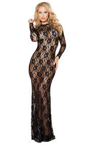 Long sleeve lace dress with open back and hook closure. Made with mesh embroidery which exposes just a significant part of your body.
