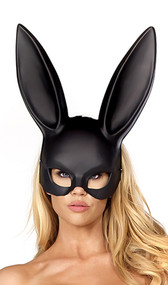 Plastic bunny mask with matte finish and elastic strap.