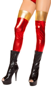 Thigh high metallic red leggings with gold top.