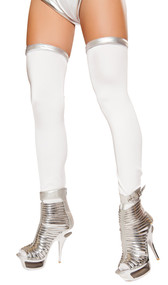 Thigh high space commander leggings with metallic silver tops.
