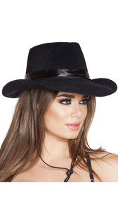 Cowgirl hat is made of stiff black material with a velvet-like texture and features a black satin-like hatband and an adjustable stampede string chinstrap.
