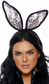 Headband with lace bunny ears and velvet trim. Ears are posable.
