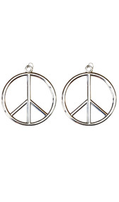 Peace sign earrings. Fish hook style for pierced ears. Pair.