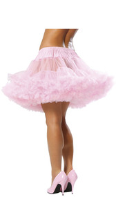 Two layered mesh petticoat with ruffled trim and elastic waist.
