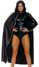 This super shiny metallic cape features contrast piping detail and easy velcro closure.