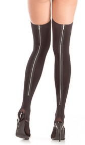 Thigh high stockings with zipper back seam.