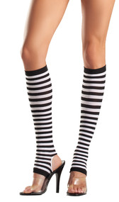 Striped nylon stirrup knee high stockings.