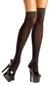 Opaque black and gold lurex knee high stockings.