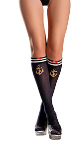 Sailor knee high socks with gold anchor, striped top, and satin bow detail.