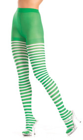 Green and white horizontal striped tights.