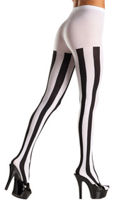 Opaque vertical striped pantyhose.