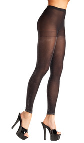 Opaque black and silver footless tights.