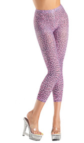 Pink leopard print footless tights.
