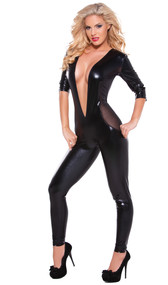 Wet look catsuit features a plunging neckline, three quarter sleeves, and tantalizing sheer mesh side panels. Full wet look back. No zippers.