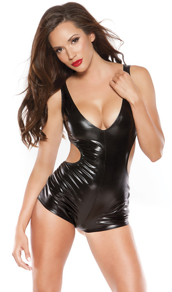 Wet look jumper with plunging neckline and side cut outs.