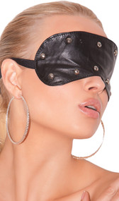 Leather blindfold with spiked studs. Inside is leather back and back of studs. Adjustable elastic strap with clasp.