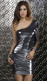 Bodycon metallic off the shoulder dress with criss cross sleeve detail.