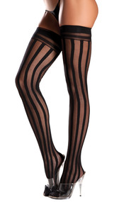 Nylon vertical striped thigh high stockings.
