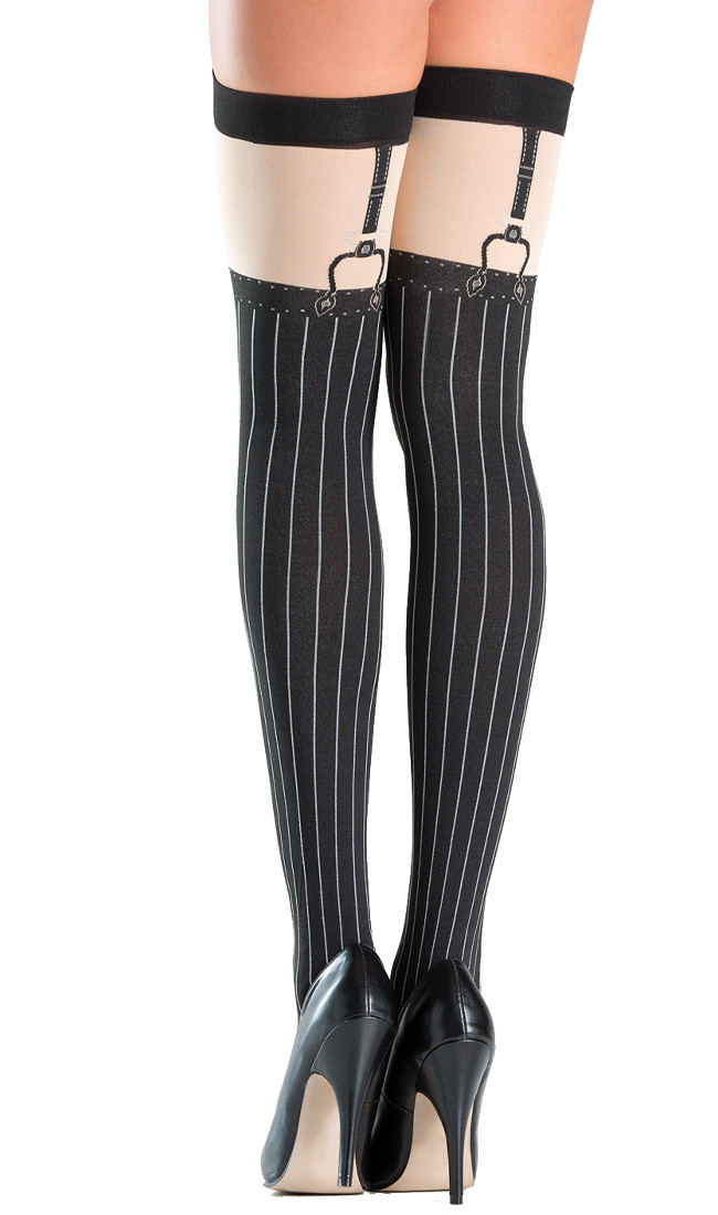 fca3fe0054988a Opaque faux suspender thigh highs with pinstripe design. Suspender straps  are printed on. Larger / More Photos