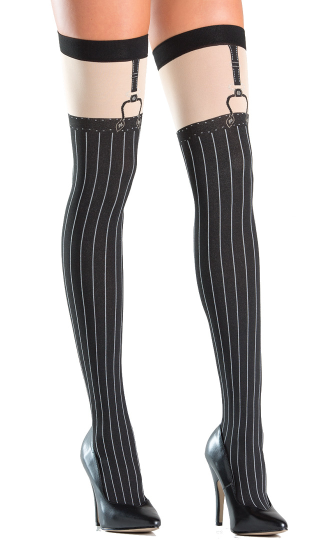 4ff816261e1bcf Opaque faux suspender thigh highs with pinstripe design. Suspender straps  are printed on.
