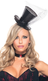 Pin on style sparkle top hat with elastic chin strap. Hat is covered with shiny black glitter and adorned with a black satin hat band, mesh net accent, and black sequin trim along brim.