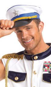 White sailors cap with blue trim, shiny black brim, yellow braided band, embroidered silver star, and gold button accents.