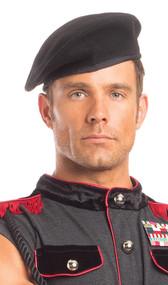 Soft felt beret. Hat is adjustable via a drawstring in back.