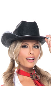 Black cowgirl hat with black band. Hat is made from a stiff felt-like material.