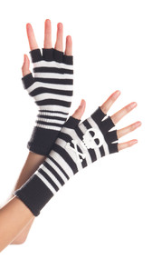 Striped fingerless gloves with skull and crossbones design on back of hands.