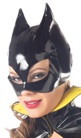 Shiny black half face bat or cat mask with pointy ears.