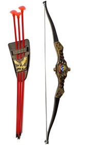 Working plastic bow and arrow set includes bow, 3 suction cup arrows, and quiver with belt clip.