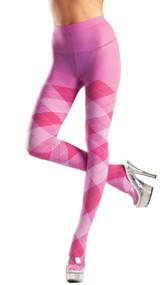 Bubble gum pink argyle tights.