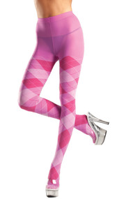 Bubble gum pink argyle tights.