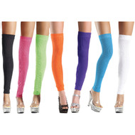 Acrylic knit thigh high leg warmers. Super soft with a lot of stretch.