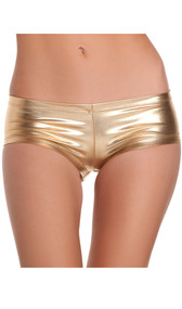 Shiny Lycra low rise booty shorts.
